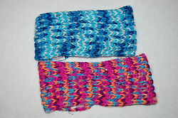 TWO WOMENS EAR WARMERS Headbands KNIT Acrylic TURQUOISE BLUE WHITE Multi color $14.00