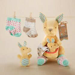 Kangaroo Plush Plus Socks And Rattle Gift Set Baby Shower Gift $32.00