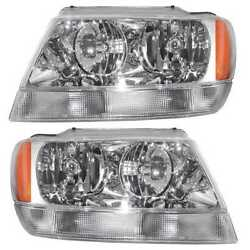 Left Right Pair (2) Head Lamp Assembly wo Bulb Fits 99-2004 Jeep Grand Cherokee