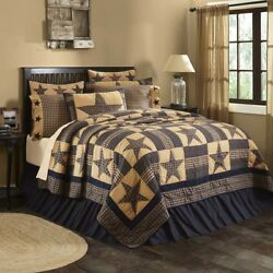 7PC QUEEN TETON STAR Country Cabin Quilt Shams Skirt Pillows Cases Bed Set VHC
