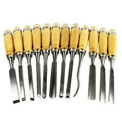 12 Piece Wood Carving Hand Chisel Tool Set Professional Woodworking Gouges Steel $18.95