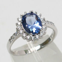 LOVELY 2 CT OVAL CUT TANZANITE  925 STERLING SILVER RING SIZE 5-10
