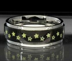 Rotating Star Design Silver Black Stainless Steel Spinner Band Ring Comfort Fit $7.99