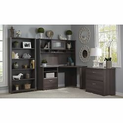 Bush Furniture Cabot Collection Corner Desk with Hutch Lateral File and 5 Shelf