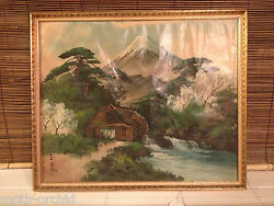Vintage Japanese Art painting on Silk Volcano Stream Windmill Pine trees Signed