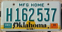 Oklahoma 1998 MANUFACTURED HOME license plate!