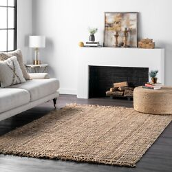nuLOOM Hand Made Chunky Loop Natural Jute Area Rug in Tan Color $77.99