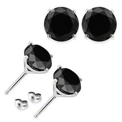 1.50 Ct Black Diamond AAA 4 Prong Martini Solitaire Stud Earrings 14K White Gold