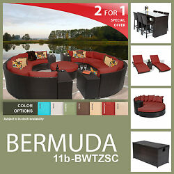 Bermuda 24 Piece Outdoor Wicker Patio Furniture Package BERMUDA-11b-BWTZSC