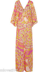 EMILIO PUCCI Embellished Silk Print Beach Cover Up Kaftan onesize BNWT £1890