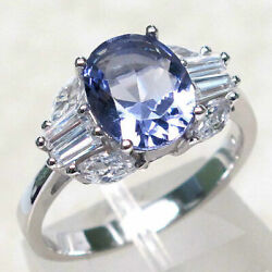 FASCINATING 3 CT TANZANITE 925 STERLING SILVER RING SIZE 5-10