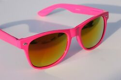 New Neon Pink Way Sunglasses with fire mirror lens 80#x27;s retro vintage shade $9.95