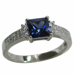 EXQUISITE 1 CT TANZANITE 925 STERLING SILVER RING SIZE 5-10