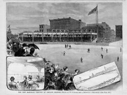 CHICAGO BASEBALL GROUNDS IN 1883 GRANDSTANDS PRESIDENT SPALDING IN PRIVATE BOX $115.00