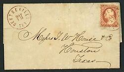 26 on May 1860 Commercial Cover Centerville TX to Houston with Red Town Cancel