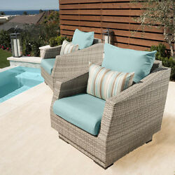 RST Brands Cannes Club Patio Chairs with Cushions (Set of 2)