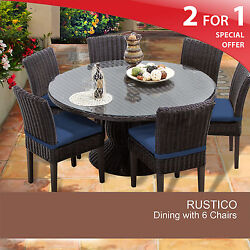 Rustico 60 Inch Outdoor Patio Dining Table With 6 Chairs 2 for 1