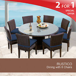 Rustico 60 Inch Outdoor Patio Dining Table With 8 Chairs 2 for 1