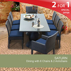 Saturn Rectangular Outdoor Patio Dining Table With 8 Chairs 2 for 1