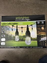 New 36' String Lights 18 LED Bulbs Hanging Outdoor Weatherproof Cafe Deck Lamps