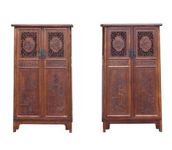 Chinese Pair Huali Rosewoo Panel Doors Noodle Cabinets cs1500