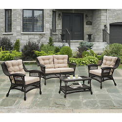 W Unlimited 5-Piece Moon Collection Outdoor Patio Furniture Set with Coffee Tabl