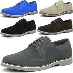 Alpine Swiss Beau Mens Dress Shoes Genuine Suede Wing Tip Brogue Lace Up Oxfords $19.99