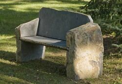 Stone Age Creations BE-BA-LM Landmark Basalt Stone Boulder Bench with Back