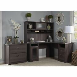 Bush Furniture Cabot Collection L-Desk with Hutch and Lateral File