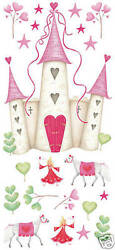 21 Pink Princess Castle Giant Wall Mural Decals - Removable Stickers Appliques