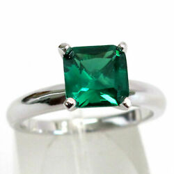FANCY 2 CT EMERALD 925 STERLING SILVER RING SIZE 5-10