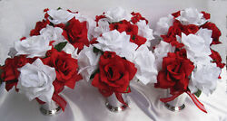 LARGE LOT 55 pcs Wedding bouquet Bridal Silk flowers centerpiece pew bows  RED