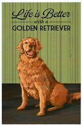 Life is Better with a Golden Retriever Dog Breed K9 Modern Animal Postcard $2.99