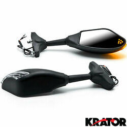 Universal Matte Black Integrated Motorcycle Mirrors w LED Turn Signals Blinkers