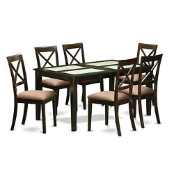 Modern Black Finish Solid Rubberwood 7-Piece Dining Set with Capri Table and 6 D