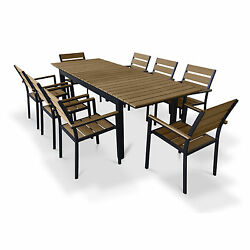 Urban Furnishing Brown Composite Wood Extendable Outdoor Patio 9-piece Dining Se