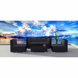 Urban Furnishing 5a Black Series Wicker Patio Sectional Sofa Set