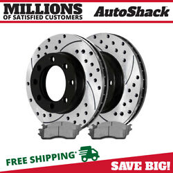 Front Drilled and Slotted Brake Rotors Ceramic Pads for 2003-2008 Dodge Ram 2500