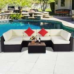 7PCS Outdoor Patio Furniture Wicker Rattan Sofa Set w Cushion Poly Wood Table