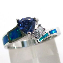 GORGEOUS 1 CT TANZANITE BLUE OPAL 925 STERLING SILVER RING SIZE 5-10