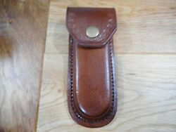 Heavy Duty Brown leather knife case- sheath - holds folding knives up to 5