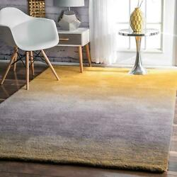 nuLOOM Hand Made Contemporary Modern Shag Area Rug in Yellow Grey Ombre $45.99