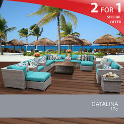 Catalina 17 Piece Outdoor Wicker Patio Furniture Set 17c 2 for 1