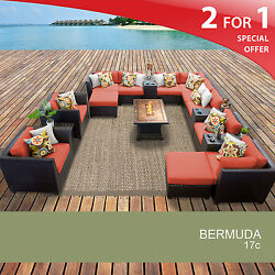 Bermuda 17 Piece Outdoor Wicker Patio Furniture Set 17c 2 for 1