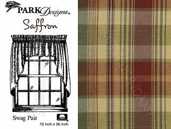 Saffron Swag by Park Designs 72x36 Pair Deep Toned Country Plaid One Pair