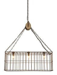 Country Chandelier Wooden Pulley Farm Style Iron Basket 3 Lights Old Fashioned $548.90
