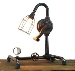 Factory Hand Crank Table Lamp with Real Old Parts Steampunk $80.10