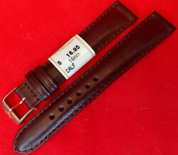 New ZRC Made in France Made Burgundy Calfskin 16mm Watch Band Gold Tone Buckle