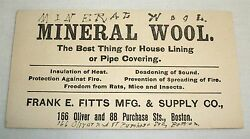 Vintage Advertising Ink Blotter Mineral Wool Frank E.Fitts Mfg Supply Co Boston