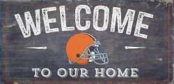 Cleveland Browns Welcome to our Home Wood Sign - 12